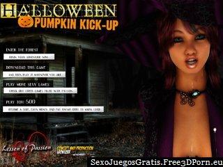 patear calabaza de halloween con novias desnudarse