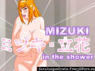 Juego de ducha con Mizuki atractiva cogida de ducha